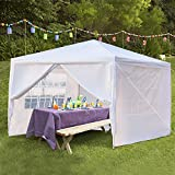 papasbox Feet Pop Up Canopy,Instant Tent 4 Removable Sidewalls Folding Up Canopy Tent Patio Event Gazebo Beach Tent UV Coated & Waterproof (White-D)
