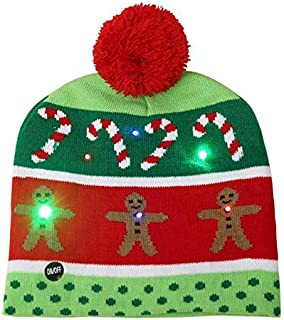 SODIAL Adult Kids Christmas LED Light Knitted Hat Knit Cap Party Colorful Light Adult Kids Warm Hat Gingerbread