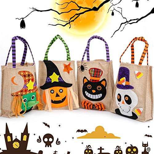 Halloween Bolsas de Mano de Truco BESTZY 4 piezas Lino Halloween fiesta Bolsas de Caramelo Calabaza Fantasma Bruja Gato negro Bolsas