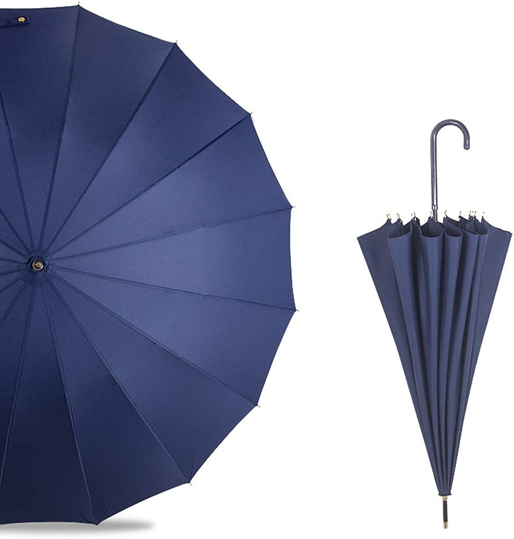 IhDFR Umbrella Sen 16K Straight Long Handle Leather Handle Retro Simple Solid color Creative Men and Women Travel Unisex (color   blueee)