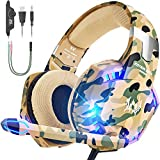 VersionTECH. Gaming headset for PS4 Xbox One 1 S PC Headphones with Microphone,USB LED Light Noise Cancellation Mic,Over Ear Compatible with Nintendo Switch Playstation 4 Gamer Games Mac Camouflage