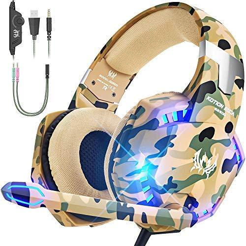 VersionTECH. Auriculares de Juego para PS4 Xbox One PC con micrófono LED de cancelación de Ruido por Encima de la Oreja Compatible con Nintendo Switch Games Laptop Mac (Camuflaje)