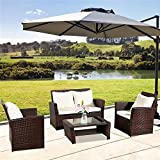 FANSI Rattan Garden Furniture Set 4 piece Patio Rattan furniture sofa Chair Weaving Wicker includes 2 Armchairs,1 Double seat Sofa and 1 table Outdoor Conservatory Indoor
