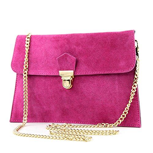 modamoda de - T206 - ital. Clutch aus Wildleder mit Goldkette, Farbe:Pink