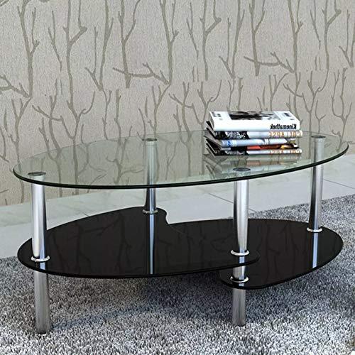 Tidyard Couchtisch aus Glas, Glastisch Wohnzimmertisch mit 3 Etagen Design Sofatisch Clubtisch für Zuhause, Wohnzimmer, Terrasse, Garten 90 x 45 x 43 cm Schwarz