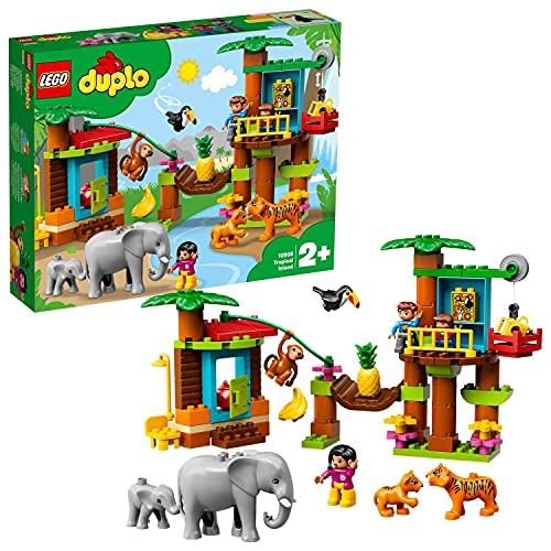 LEGO 10906 DUPLO Isla Tropical, Juguete de Construcción Educativo Casa de Árbol con Animales Salvajes y Mini Figuras