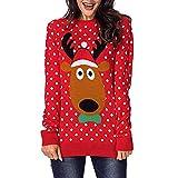 BaZhaHei Patrones de Renos de Jersey navideño para Mujer Punto Floral Imprimir Blusa para Mujer del Blusa de Mujer del Jersey de Manga Larga con Estampado de Alce para Mujer Vacaciones