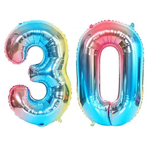 DIWULI, XL Zahlen-Ballons, Zahl 30, blau bunt Schillernde Regenbogen Luftballons, Zahlenluftballons, Folien-Luftballons Nummer Jahre, Folien-Ballons 30. Geburtstag, Party, Dekoration, Geschenk-Deko