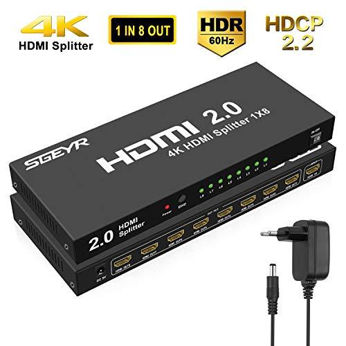 SGEYR 1x8 Puerto HDMI 2.0 Splitter 1 en 8 Out 4K 8 Way HDMI Splitter Amplificador 1 a 8 Soporte HDR 4K a 60Hz 3D 1080P Full HD para Xbox PS3 PS4 Pro Reproductor de DVD/DVR