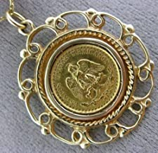 22K & 14K YELLOW GOLD 3D 1945 HANDCRAFTED DOS PESOS MEXICAN COIN PENDANT