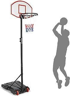 Giantex Portable Basketball Hoop w/Wheels, Height Adjustable Basketball Stand for Kids Indoor Outdoor, 28 Inch Backboard