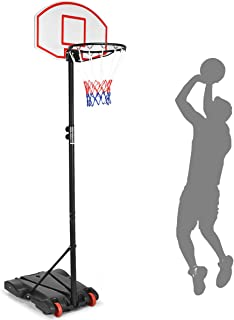 Giantex Portable Basketball Hoop w/Wheels, Height Adjustable 5.5-7 ft Basketball Stand for Kids Indoor Outdoor, 28 Inch Backboard