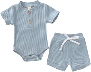 Weixinbuy Toddler Baby Boys Girls Short Sleeve Cotton Romper Bodysuit with Elastic Waist Shorts 2 Pcs Clothes Set