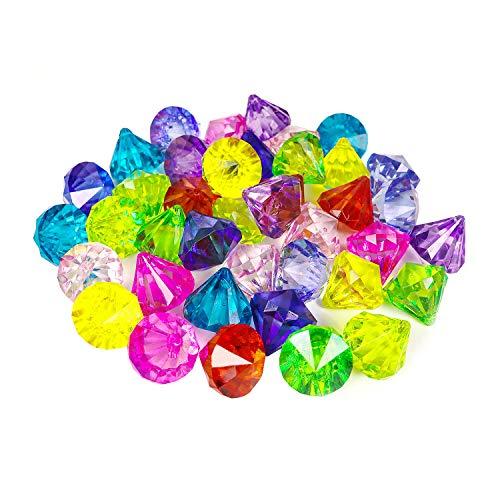 YIJIAOYUN Acryl Diamant Edelsteine Juwelen Piraten Edelsteine Set Schatz Juwelen Truhenjagd Gastgeschenke, 25 Karat Mehrfarbige Acryl Große Edelsteine (40 Stücke)