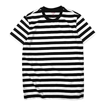 Zengjo Black and White Striped Shirt Men L,Black&White WD
