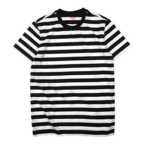 Zengjo Black and White Striped Shirt Men(L,Black&White WD)