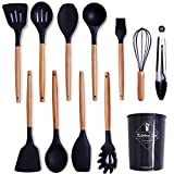 Kitchen Cooking Utensils Set With holder,Silicone Cooking Spoon Spatula Wooden Handle,Spatula For...