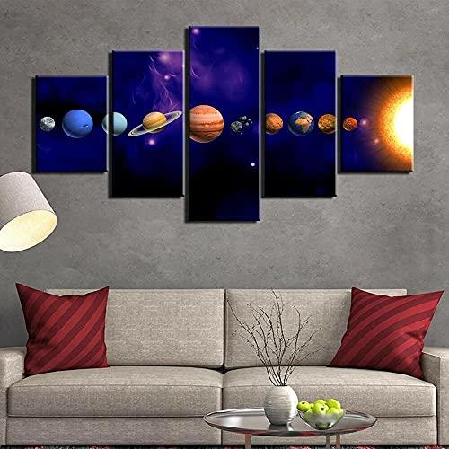QQWERCuadro En Lienzo Cuadros Modernos Impresión De Imagen  Lienzo Decorativo para Tu Salón O Dormitorio5 Piezasimpresionantes Planetas del Cartel del Sistema Solar