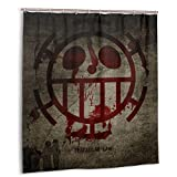 DM Maker 3D Printer Unique One Piece Anime Trafalgar Law Shower Curtain for Bathroom Showers Wrinkle Water Repellent Polyester Fabric Shower Curtain 66 X 72 Inch with 12 Hooks
