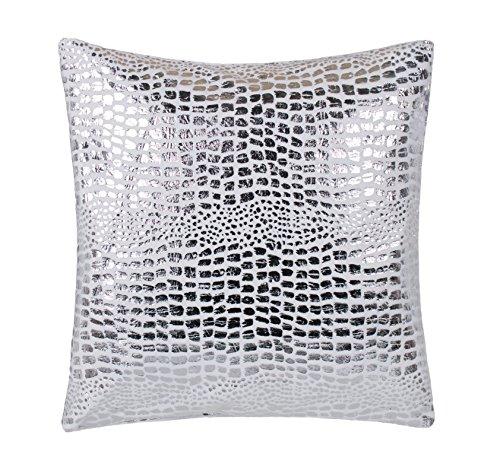 Brandsseller Trendline Kissenbezug für Zierkissen Dekokissen Kuschelkissen 40 x 40 - Silvershine - Weiß/Silber - OHNE FÜLLUNG