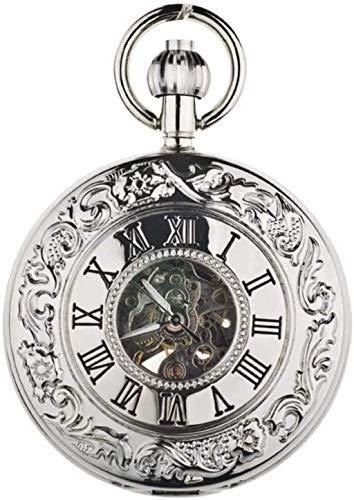 GUIPING Reloj de Bolsillo, Alivio de Louvre Relieve Retro Tallado Hueco Automático Reloj Mecánico Reloj de Bolsillo Romano,2