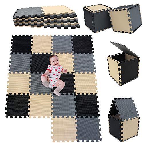 MSHEN18 Piezas Alfombra Puzzle Bebe con Certificado CE y certificación EVA | Puzzle Suelo Bebe | Puede ser Lavado Goma eva,Tamaño 1.62 Cuadrado,negro-beige-gris-041012g18