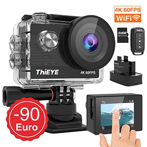 ThiEYE Action Cam T5 Pro Wahr 4K 60fps WiFi 20MP 360 ° Rotationsstabilisator Eingebauter 170 ° Weitwinkel 8X Zoom 60M Wasserdichter UHD-Touchscreen mit 2 Batterien 1100mAh, Einer 64G Speicherkarte