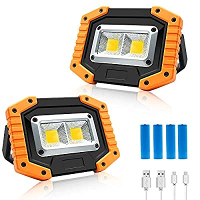 30W LED Work Light, 2 COB Rechargeable Flood Light, Portable 1500LM Job Site Lighting, Waterproof, 3 Lighting Modes for Outdoor Camping, Hiking, Emergency Car Repairing, Fishing Workshop, 2 Pack