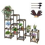 Estantería para flores, 13 estantes, estante para plantas, estante para flores en escalera para interior y exterior, balcón, jardín, balcón, patios, flores de madera