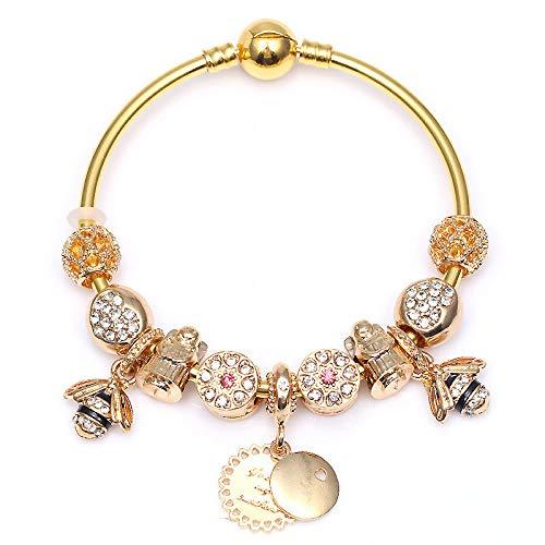 Color dorado serpiente cadena encanto pulsera brazalete con lindas abejas colgantes DIY moda joyería regalo para las mujeres C01 19cm