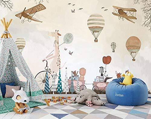 Muurschildering achtergrond muursticker kinderkamer behang sticker cartoon giraf dier fotobehang wandschilderij 3D kinderkamer behang 430 x 300 cm.
