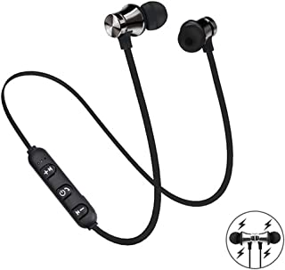 vJNM2sbD Magnetic Bluetooth 4.3 Wireless Sports Bluetooth Headset Earphone Sports Headphone with Mic