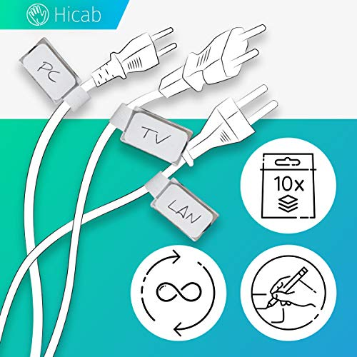 Hicab 10 x Kabelbeschriftung mit Klettband, weiss. Der Klettbinder hat ein Beschriftungsfeld. Kabeletikette ist durch neue Labels mehrfach beschriftbar. Flexible Kabelkennzeichnung, Kabelmarkierung