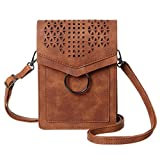 MINICAT Small Crossbody Bags for Women Synthetic Leather Cell Phone Purse with Card Slots(Brown-RFID Blocking)