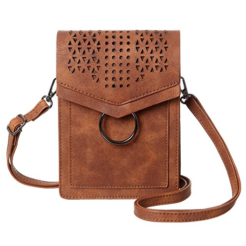 MINICAT Small Crossbody Bags for Women Synthetic Leather Cell Phone Purse with Card Slots(Brown)