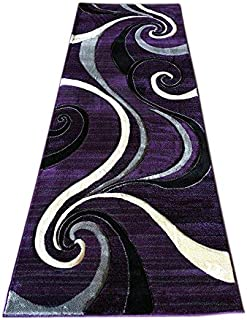 Contempo Modern Purple Grey Black Gray Contemporary Runner (400,000 Point) Area Rug Swirl Design #344 (2 Feet X 7 Feet 3 Inch .)