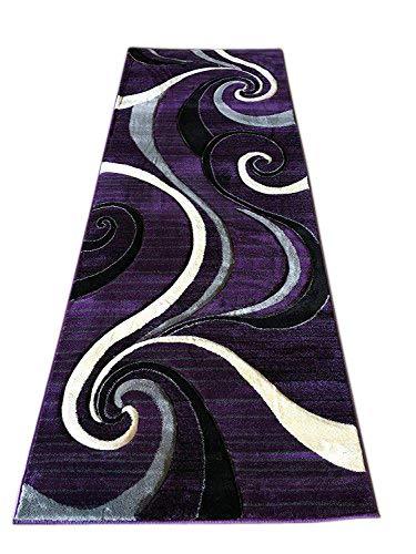 Contempo Modern Purple Grey Black Gray Contemporary Runner (400,000 Point) Area Rug Swirl Design #344 (2 Feet X 7 Feet 3 Inch)