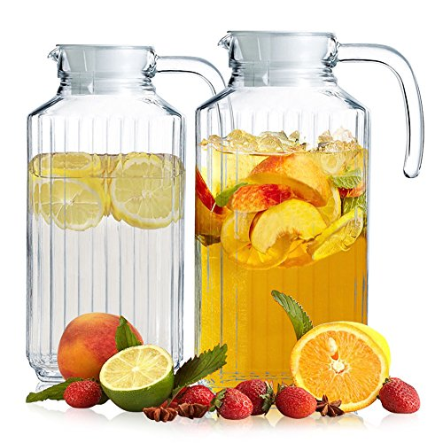 Liter Glass Water Carafe Pitcher Set of 2, Milk Bottle Design Beverage Decanter with Hermetic Stainless Steel Lid and Handle - Perfect for Beer and Juice