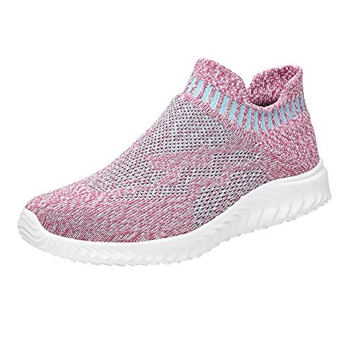 URIBAKY - Zapatillas de deporte para mujer, transpirables, de malla, rosa, 41 EU