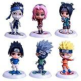 MNZBZ Versión Q 18 Generaciones de 6 Adornos de Coches de muñecas Naruto Mano Naruto Anime Alrededor...