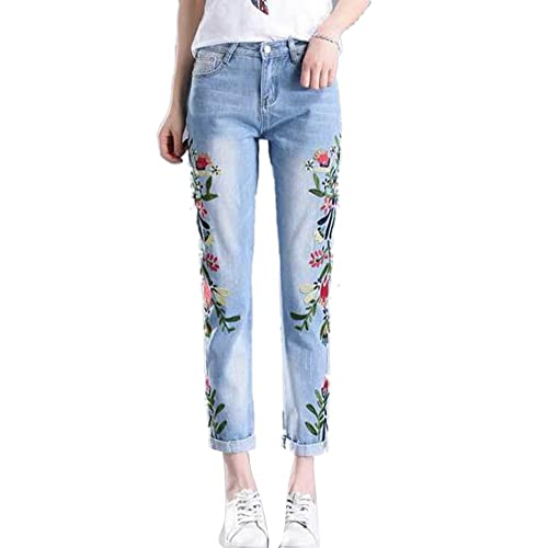 a9f603a6cfd76 Women s Pencil Stretch Embroidered Floral High Waist Slim Boyfriend Jeans  Blue