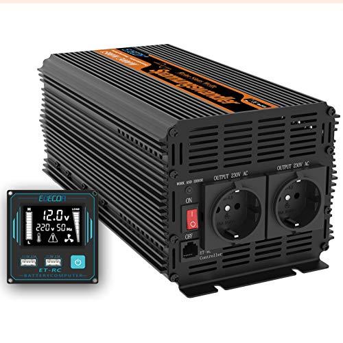 EDECOA inversor 12v 220v Onda Pura 1500w Transformador de Corriente Onda Pura con...