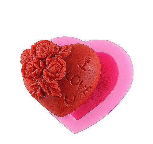 Gespout Moule à Cake Anti-adhérent en Silicone Rose en Forme de Coeur Gâteau Cookie Savons Gelée Chocolat Outil Cuisson de Cuisine