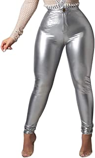 MS Mouse Womens Sexy High Waisted Faux Leather PU Skinny Leggings Pants