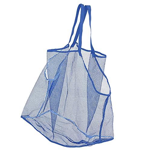 DYNWAVE 子供用 ビーチバッグ ネットバッグ 雑貨 おもちゃ収納 メッシュバッグ 大容量 速乾 砂場バッグ 砂遊び 水遊び プール アウトドア - 青