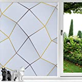 Coavas Privacy Window Film Non Adhesive Window Frost Film Self Static Window Clings for Privacy Anti-UV Stained Glass Privacy Film for Living Room Bathroom Gradient Gray Irregular Cube 17.7 x 78.7 in