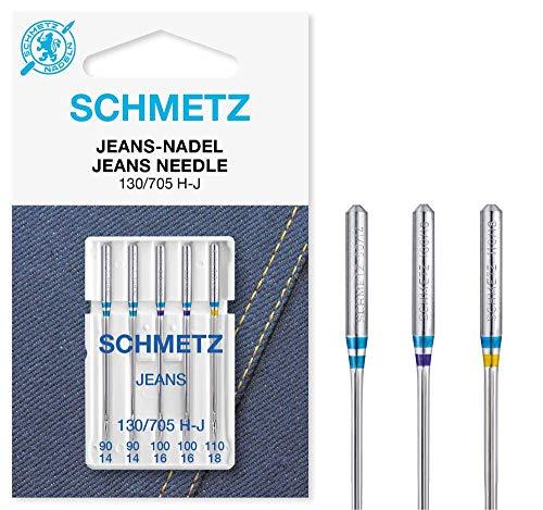 SCHMETZ Nähmaschinennadeln | 5 Jeans-Nadeln | 130/705 H-J | Nadeldicken: 2x 90/14, 2x 100/16 und 1x 110/18 | auf allen gängigen Haushaltsnähmaschinen einsetzbar | geeignet für das Verarbeiten von Jeans und ähnlichen Stoffen