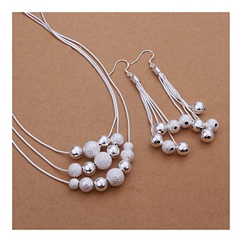 SHOYY La Nueva joyería de Plata del Color Conjunto Estilo Europeo Colgante Triple Cadena cuelga los Pendientes Luz Arena Collar de Bolas