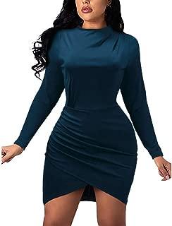SADUORHAPPY Women Long Sleeve Mini Dress Sheath Fit Dress Soft Flare Short Dress Cute Pure Color Club Dress