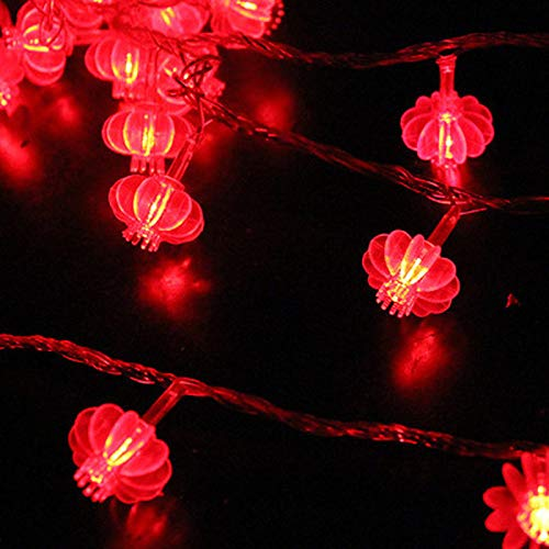 Traditional Red Lantern USB LED String Light Christmas Battery Operated Party Supplies Chinese New Year Decoration (Lantern Size : 1.5m battery)
